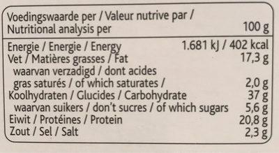 Bioburger Noisettes Amandes - Voedingswaarden