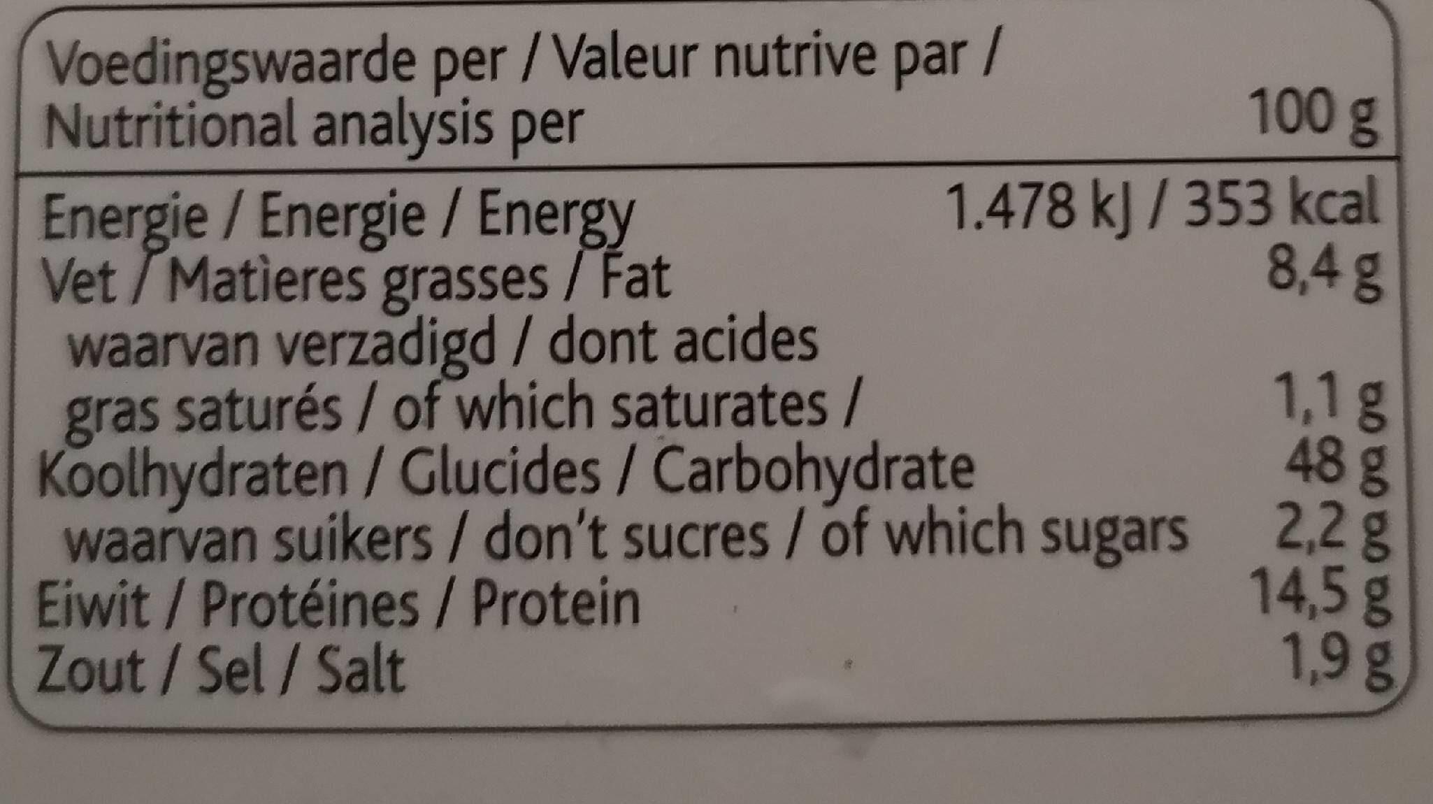 Bioburger - Nutrition facts - fr