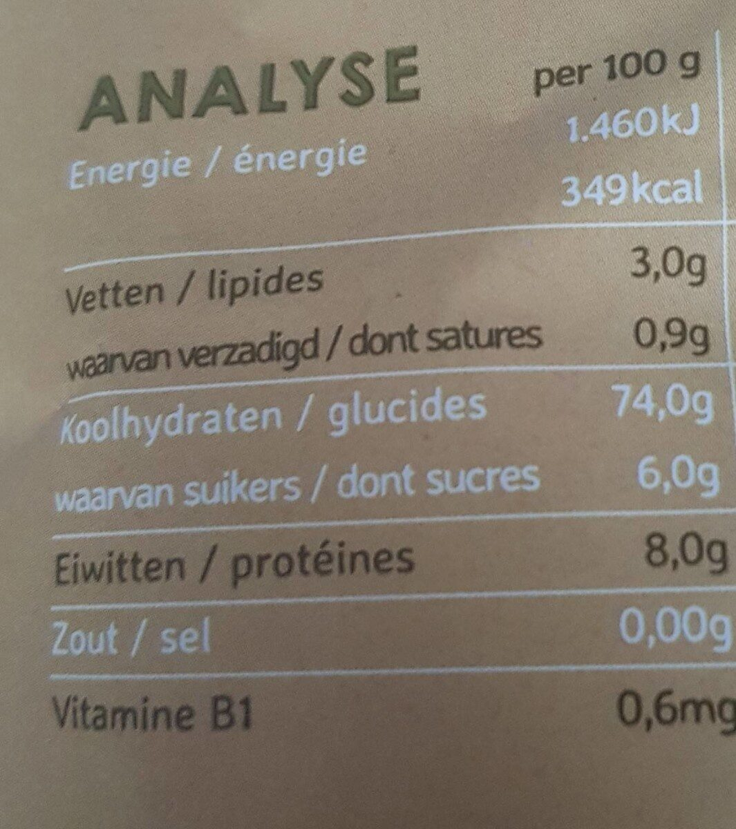 Naturel poppies - Nutrition facts - nl