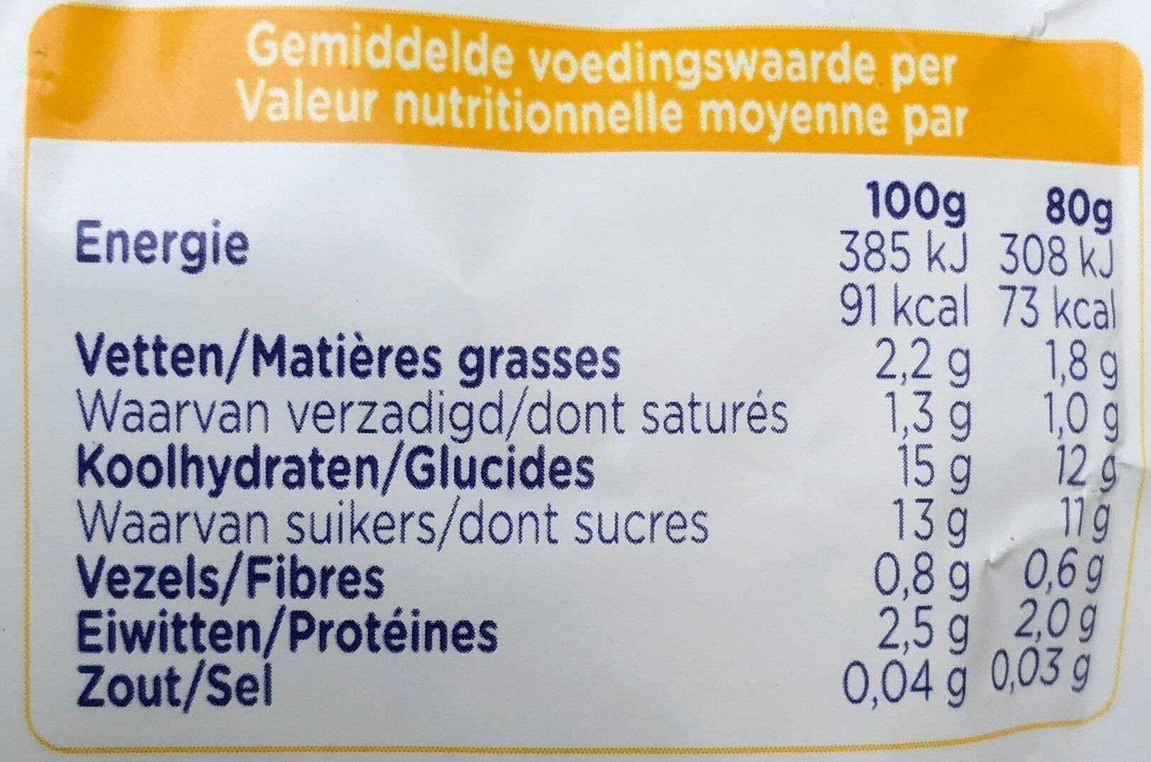 Petit Hero - Nutrition facts - fr