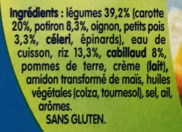 Babychef Mijoté de Légumes et Cabillaud - Ingredients