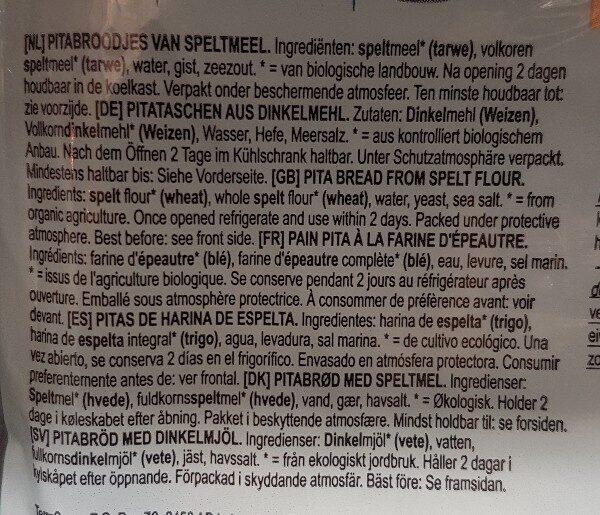 Pain pita a la farine d'épautre - Ingrediënten - fr