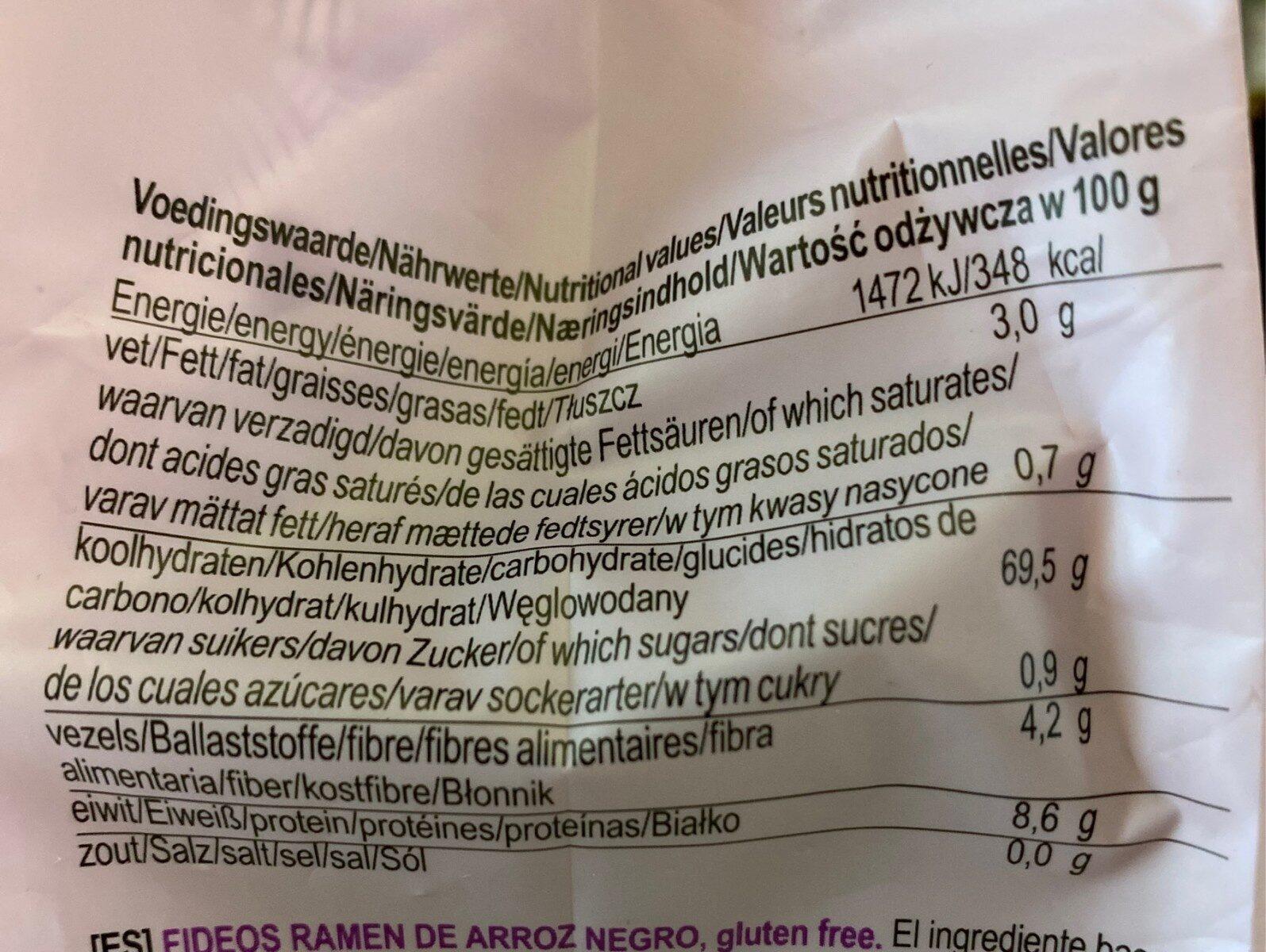 Ramen black rice noodles - Nutrition facts - es