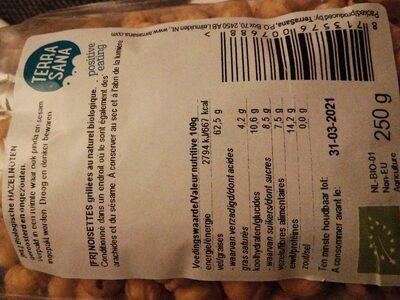 Hazelnoten geroosterd - Nutrition facts - nl