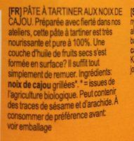 Crema de anacardo - Ingredients - fr