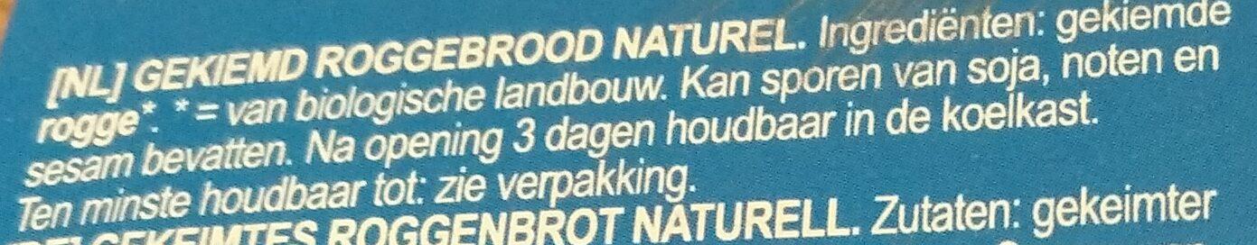 Pain germé seigle - Ingrediënten - nl