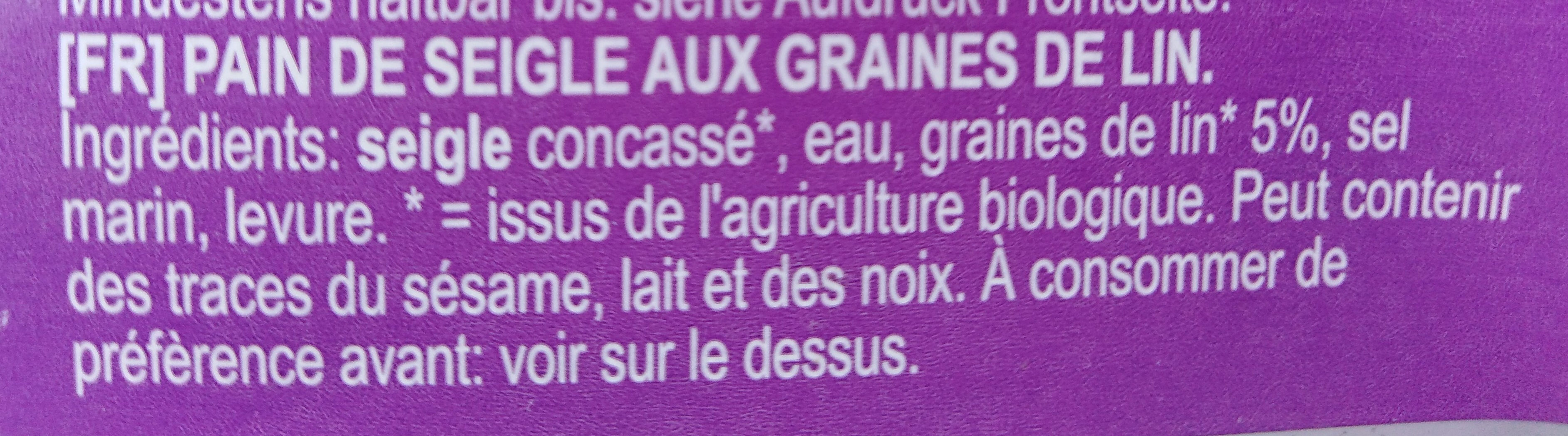 Pain de seigle aux graines de lin - Ingredients - fr