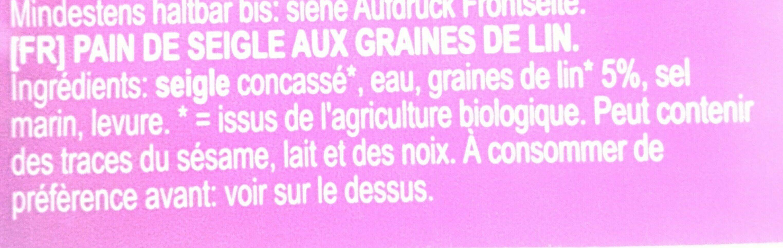 Pain de seigle aux graines de lin - Ingrédients