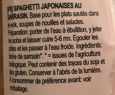 Spaghetti Soba Sarrasin - Ingredients - fr