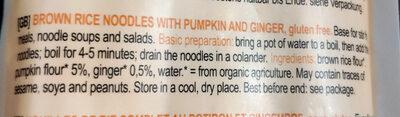 Brown rice, pumpkin and ginger noodles - Ingredients - en