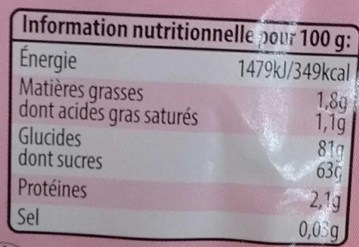 Dynamite goût fraise - Informations nutritionnelles