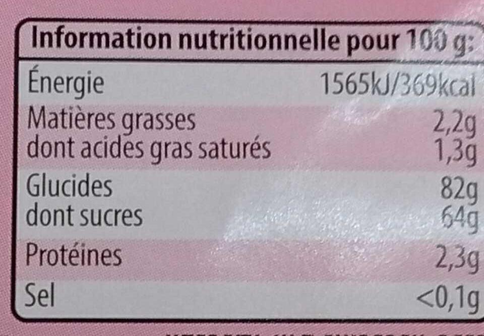 Lassos citriques goût fraise - Informations nutritionnelles
