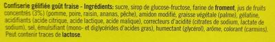 Sticks Fraise - Ingrédients