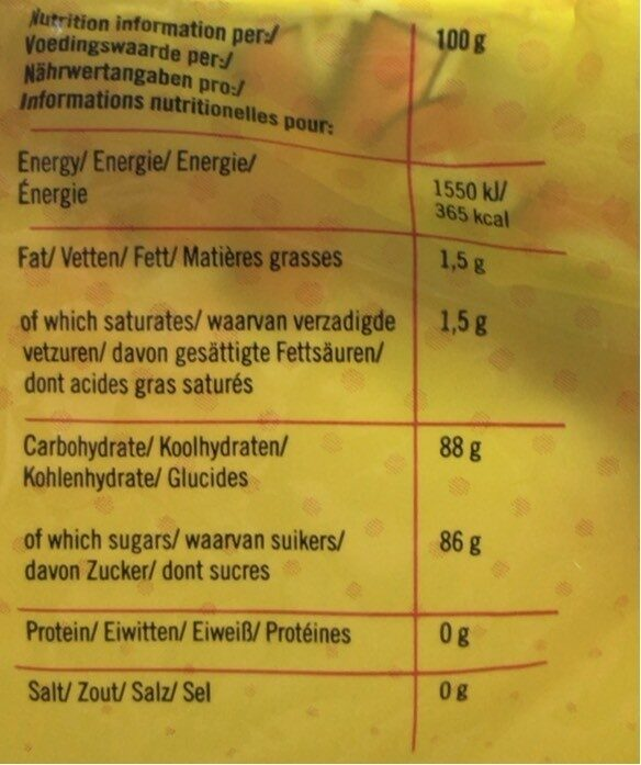Mix Dextrose - Informations nutritionnelles - fr