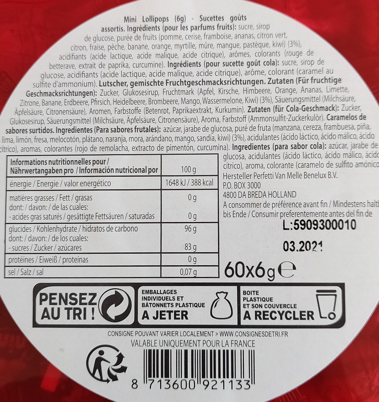 Chupa chups - Ingrediënten