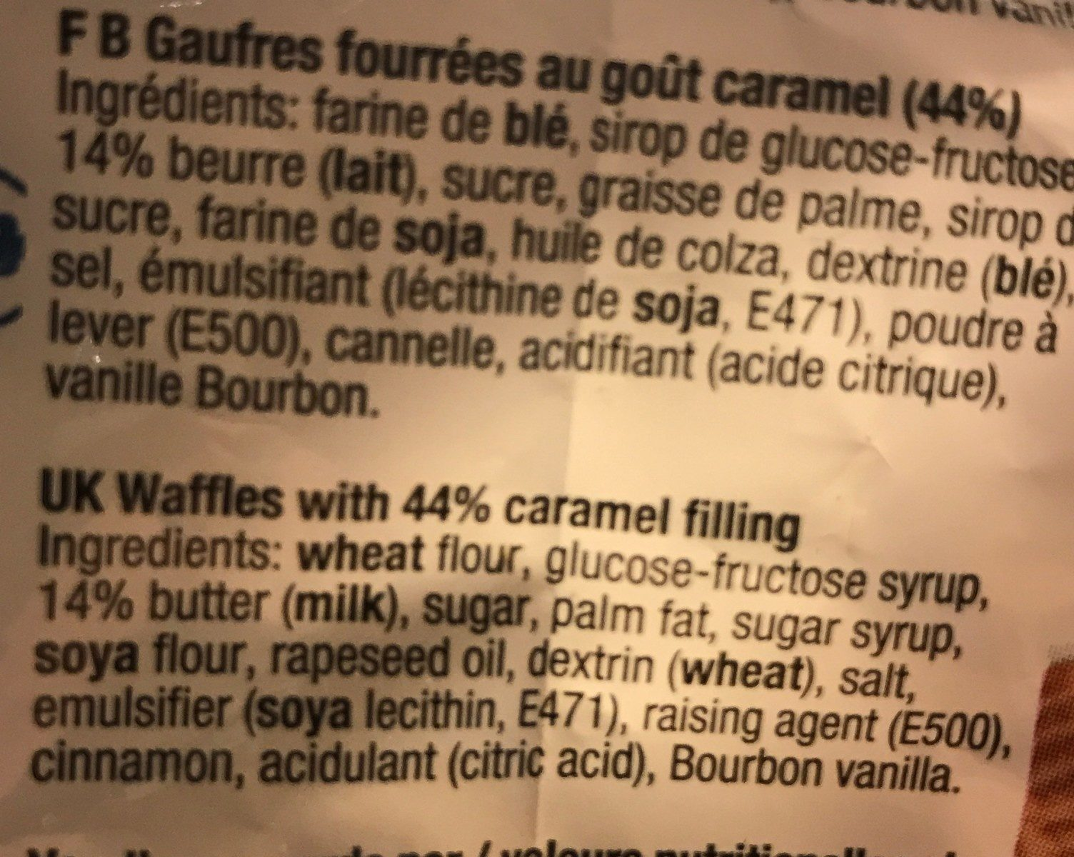 Mini Wafers Caramel 200G - Ingredientes - fr