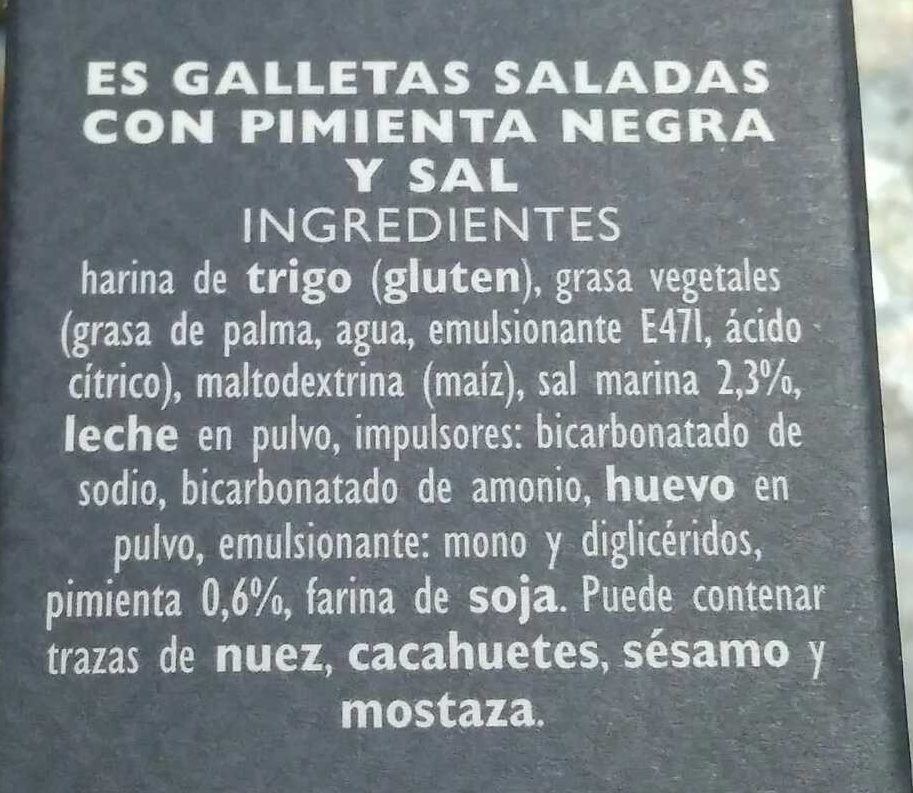 Galletas saladas con pimienta negra y sal - Ingredientes
