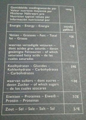 Galletas saladas con pimienta negra y sal - Información nutricional