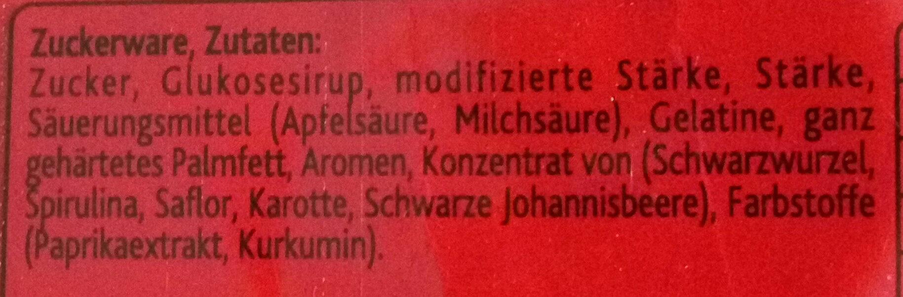 Gummi Stäbchen super sauer - Zutaten - de