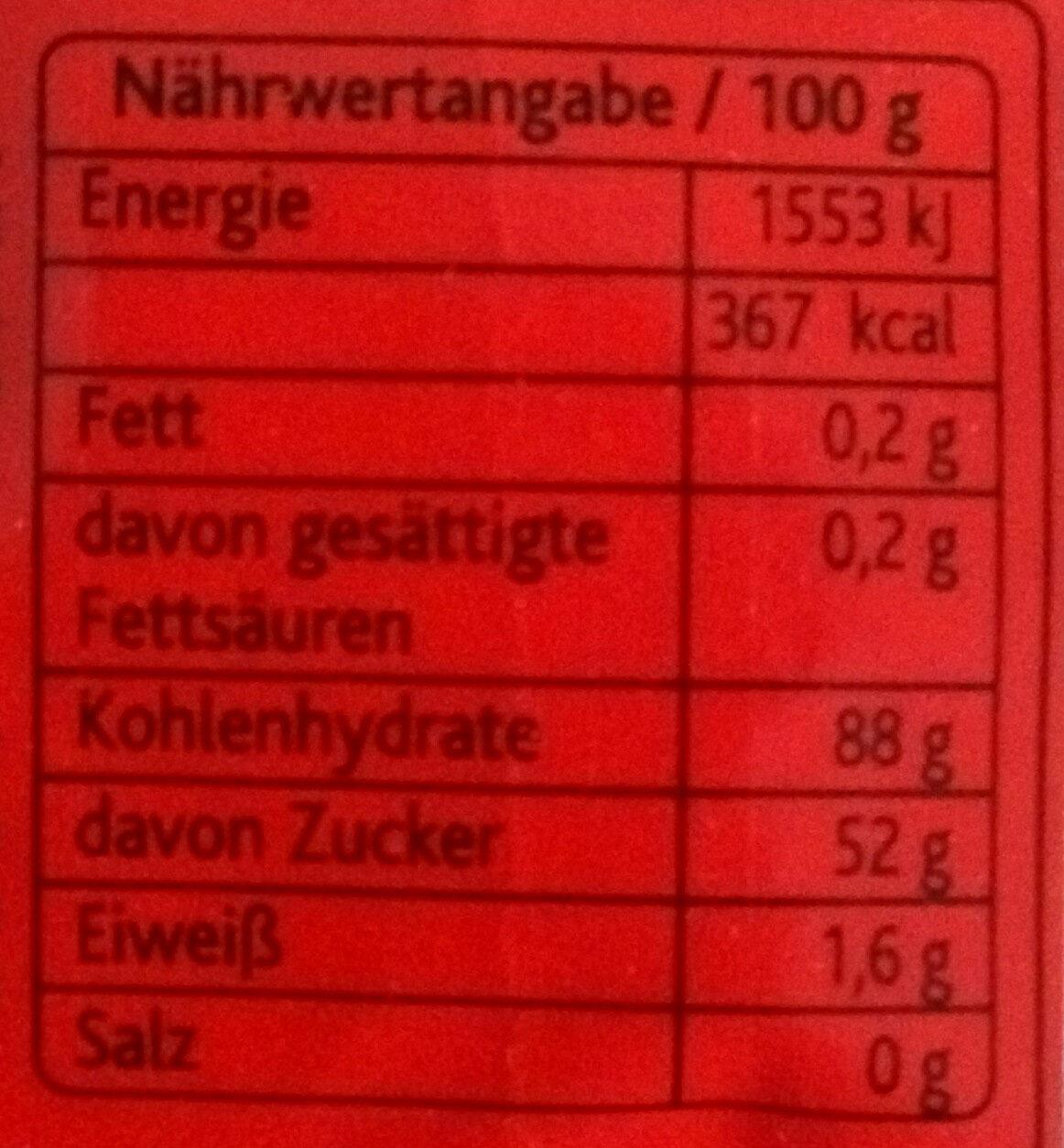 Gummi Stäbchen super sauer - Nährwertangaben - de