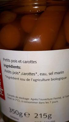 Carote e Piselli Al Naturale - Ingrédients - fr