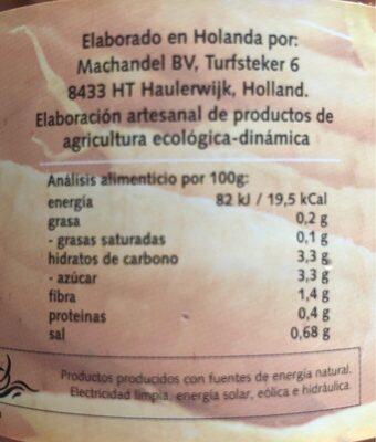 Zanahorias bio - Información nutricional - es