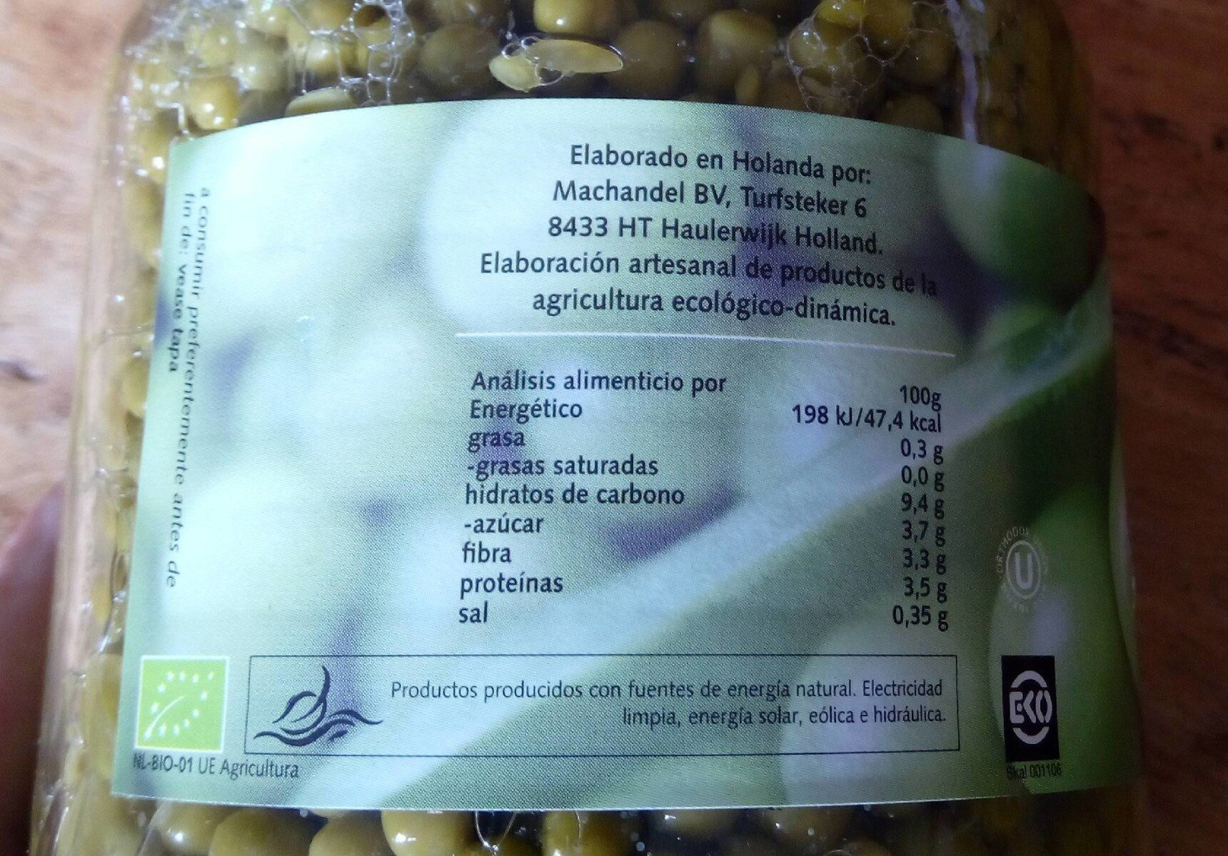 Guisantes bio - Nutrition facts - es