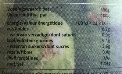 bio Augurken zoetzuur - Nutrition facts - nl