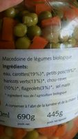 Mezcla Verduras Al Natural 680GR. Machandel - Ingredients - fr