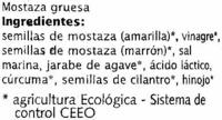 "Salsa de mostaza ecológica ""Machandel"" Gruesa - Ingredientes"
