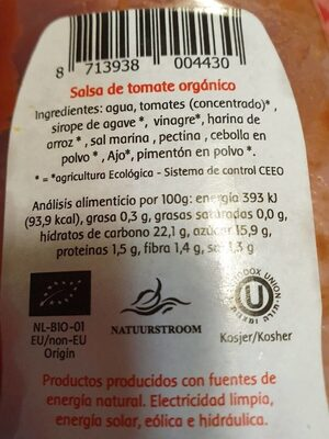 Tomate Ketchup - Nutrition facts - es