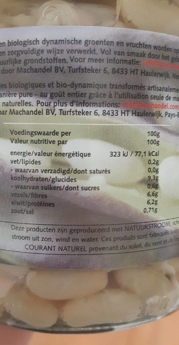 Flageolets bio - Nutrition facts - fr