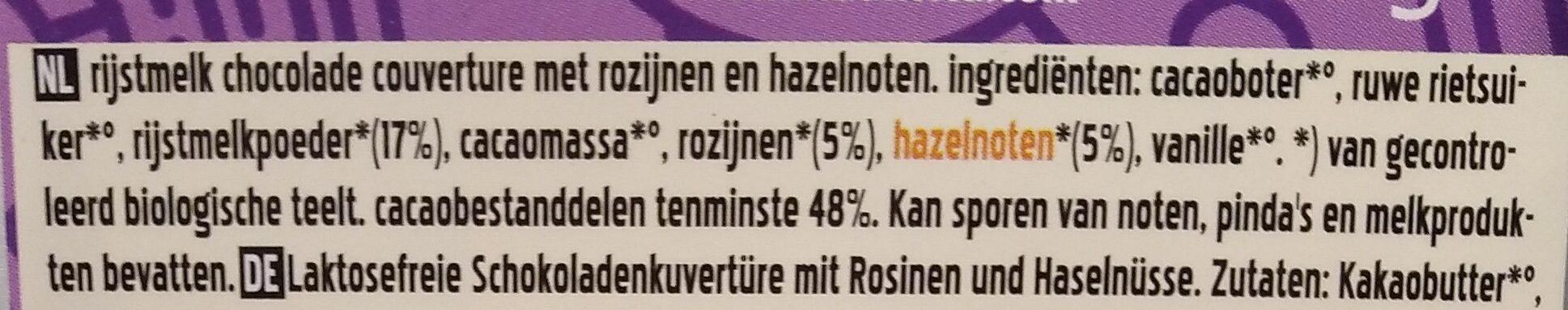 Rice milk raisins hazelnuts - Ingrediënten - nl
