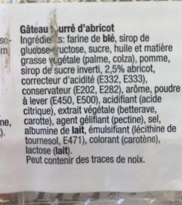 Gateau fourré d'abricot - Ingrédients - fr