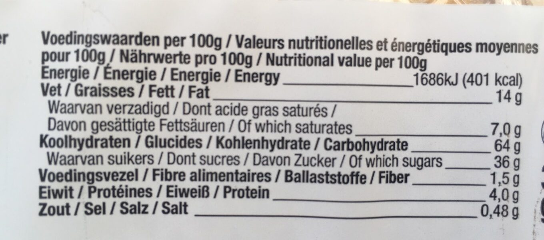 Gateau fourré d'abricot - Informations nutritionnelles - fr