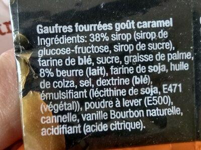 Gaufres Fourrées Goût Caramel - Ingrédients - fr