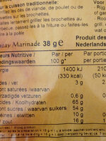 Satay Marinade - Nutrition facts