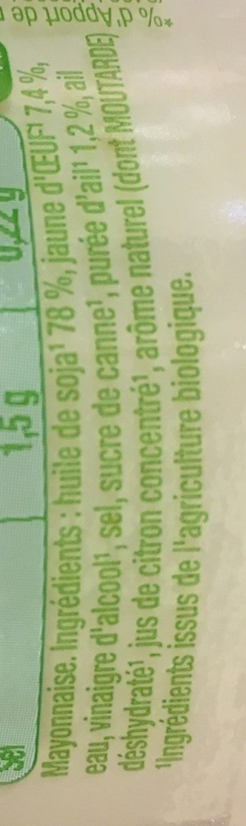Mayonnaise bio ail - Inhaltsstoffe - fr