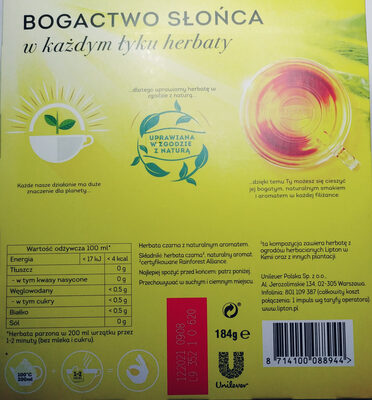 Herbata czarna z naturalnym aromatem - Ingredients