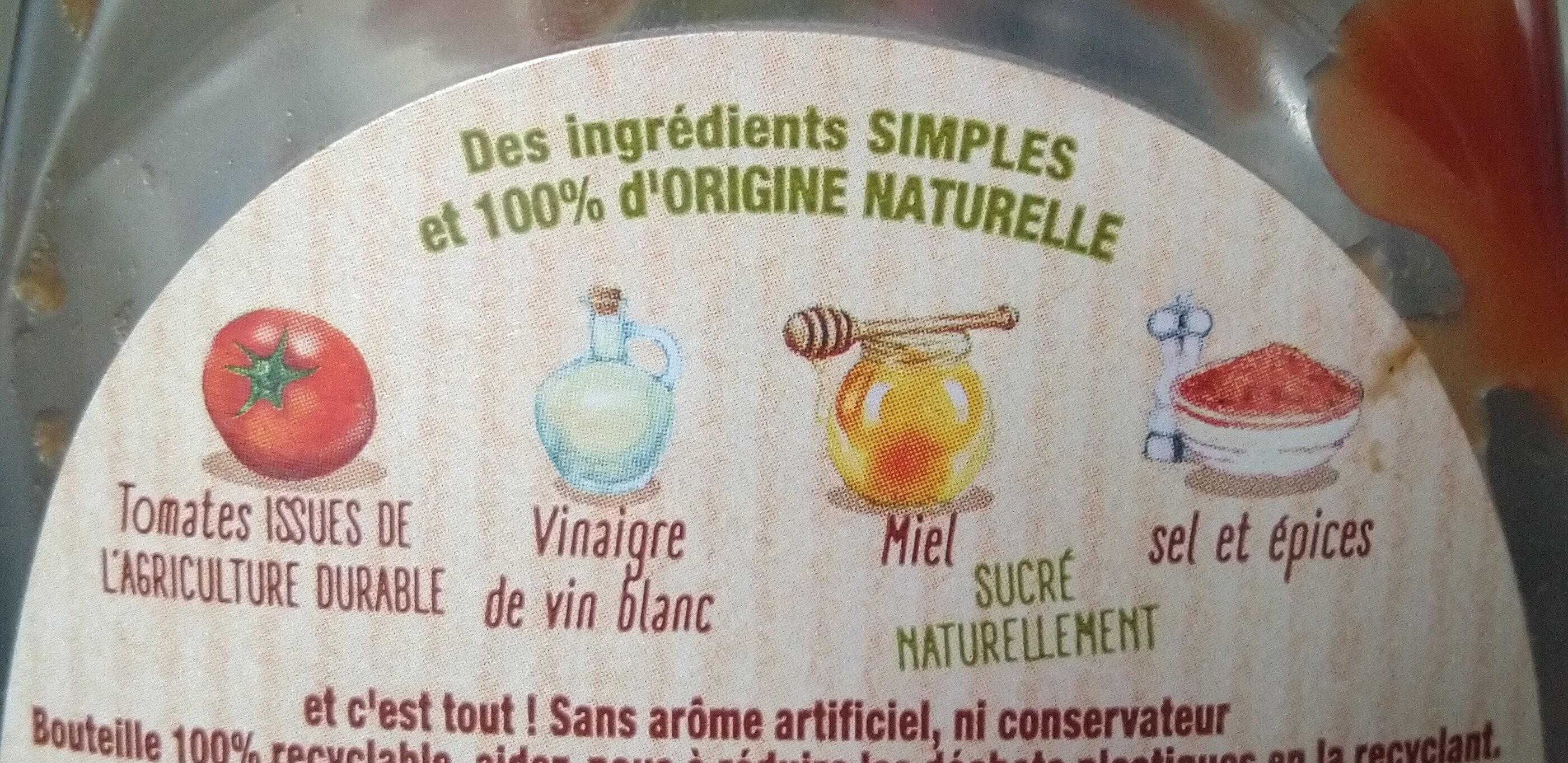 Amora Ketchup Ingrédients d'Origine Naturelle Flacon Souple - Ingrédients - fr