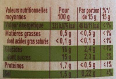 Amora Ketchup Ingrédients d'Origine Naturelle Flacon Souple - Informations nutritionnelles - fr