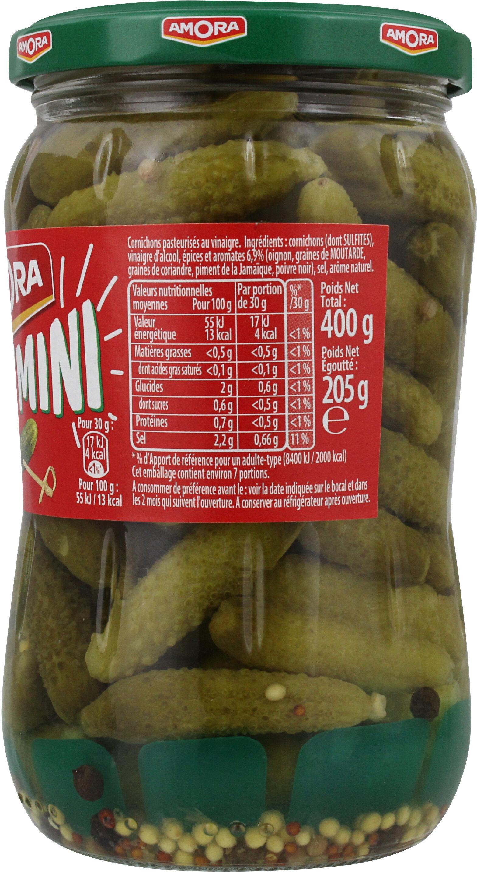 Amora Croq'Mini Cornichons aux 5 Epices et Aromates 205g - Informations nutritionnelles - fr