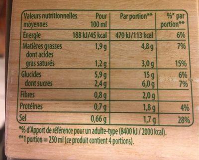 Knorr Soupe Liquide Douceur d'Automne à la Crème Fraîche Brique Lot 3x1L - Voedingswaarden - fr