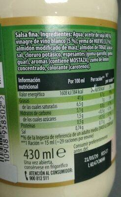 Mayonesa Calvé Casera - Informació nutricional - es
