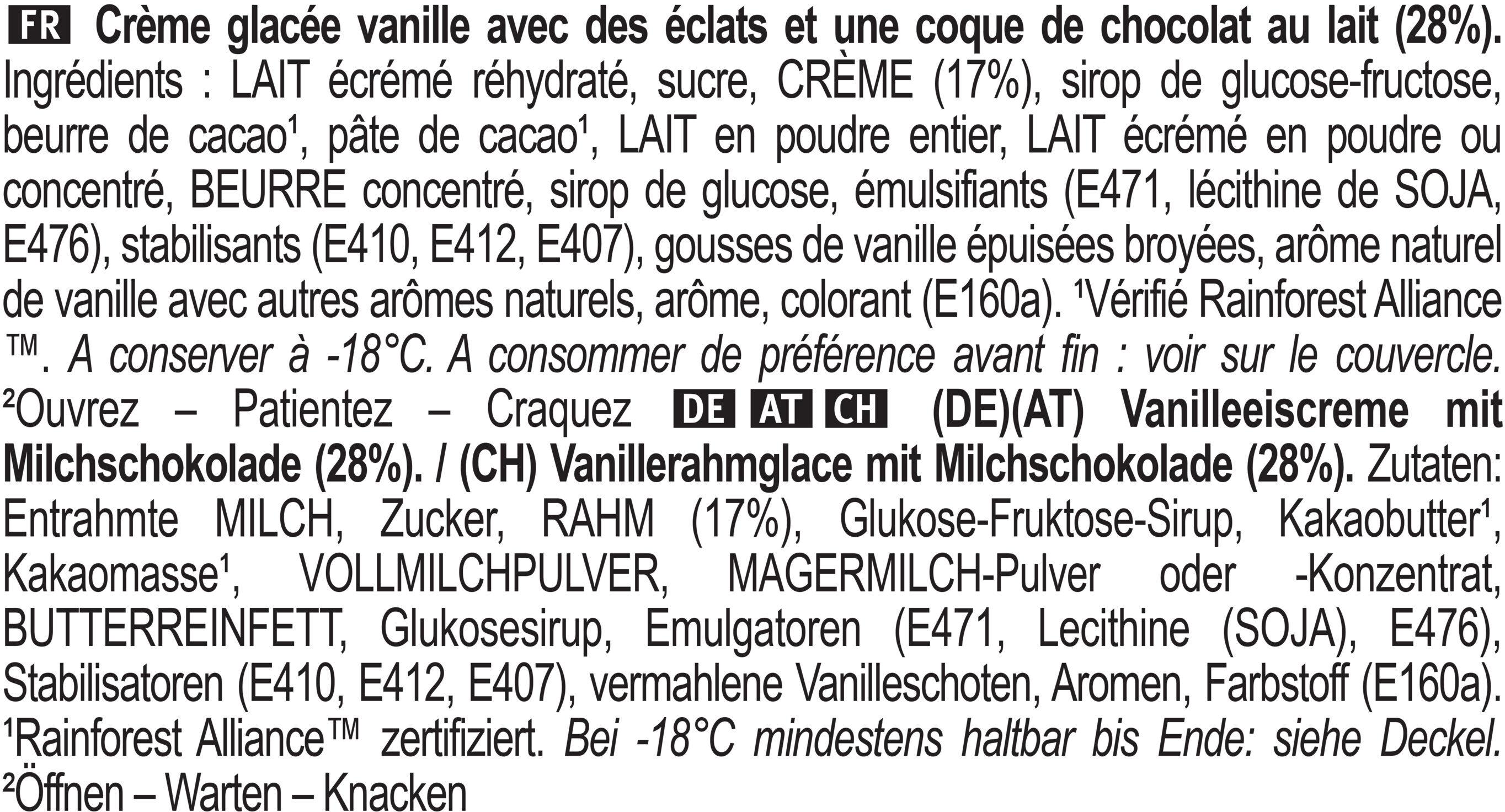 Magnum Glace Pot Classic Vanille Chocolat 440ml - Ingrediënten - fr