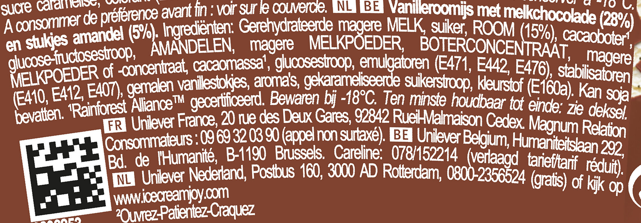 Magnum Glace Pot Vanille Amande - Ingrediënten - nl