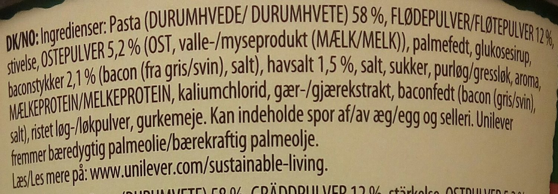 Knorr Pasta Snack Pot Carbonara - Ingrédients - da