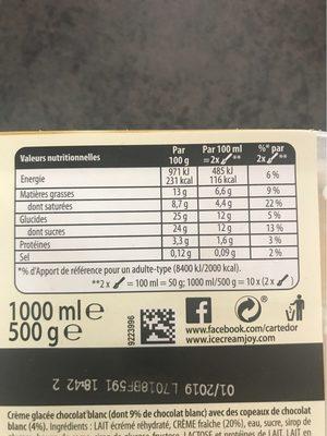 Carte d'or chocolat blanc - Informations nutritionnelles