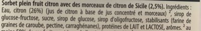 Carte D'or Sorbet Plein Fruit Citron 1000ml - Ingredienti - fr
