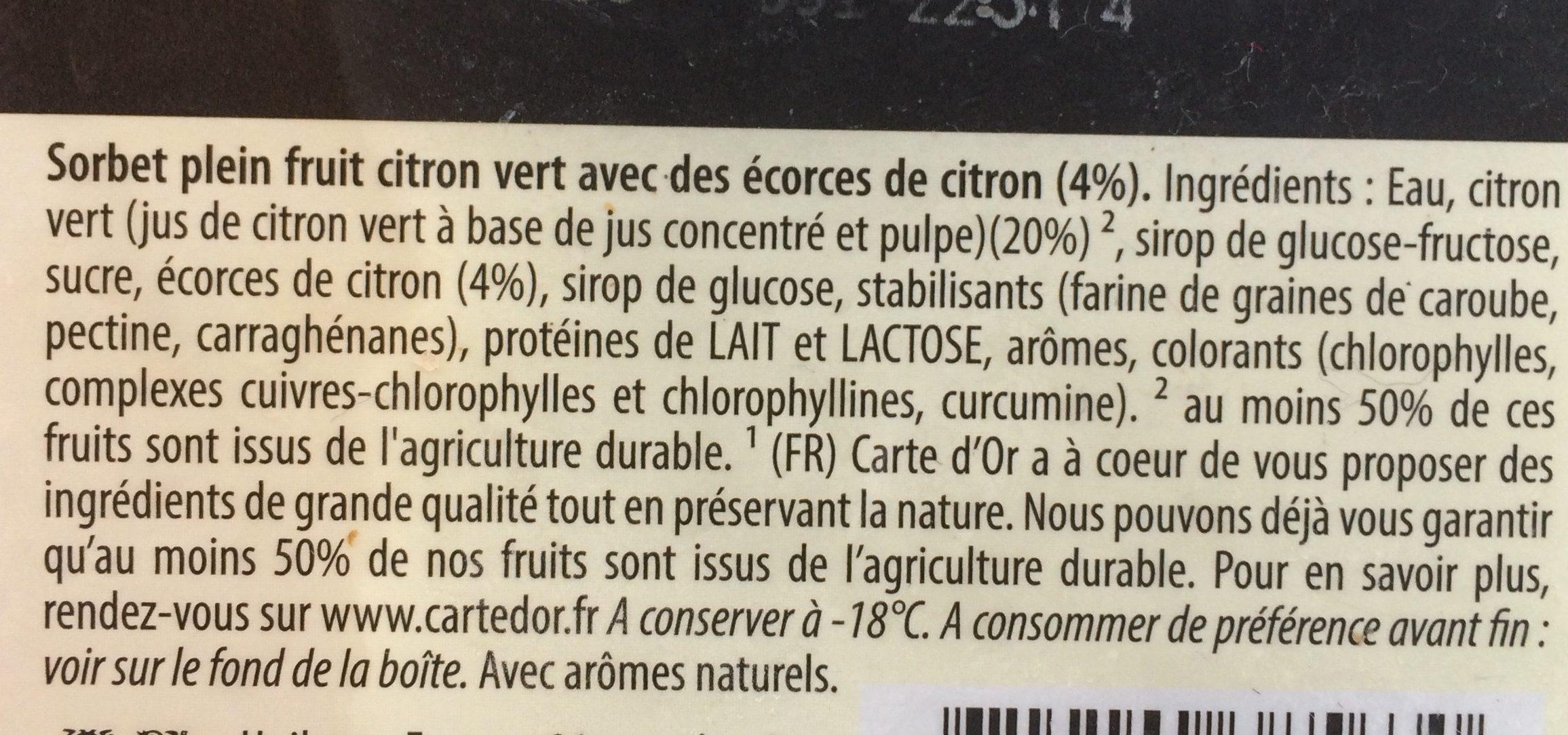 Carte D'or Sorbet Plein Fruit Citron Vert 1000ml - Ingredienti - fr